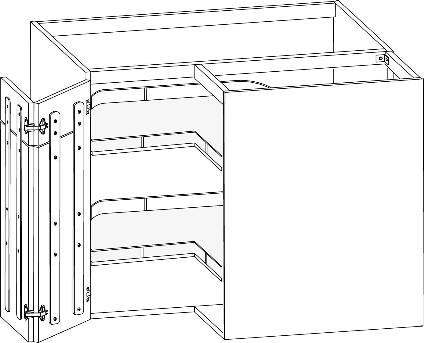 Hörnskåp med Maxx Carousel, tvådelad lucka 900/900mm - Nytt kök ...