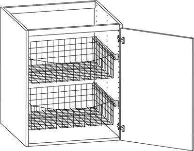 Bänkskåp med två trådbackar 400mm – Nytt kök badrum och ...